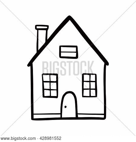 Hand Drawn Cute House. Doodle Sketch Style Home. House Building With Window, Roof. Vector Illustrati