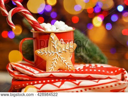 Composition With A Cup And Red Blanket. Christmas Hot Drink In A Cup In Front Of Sparkle Lights. Chr