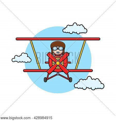 Cute Baby Driving Aero Plane Cartoon Icon Illustration. Design Isolated Flat Cartoon Style