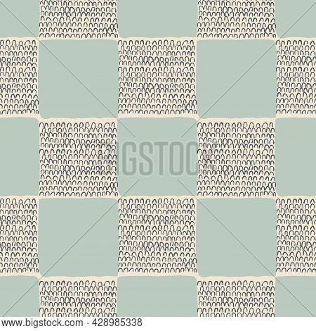 Contemporary modern shape and lines illustration check seamless repeat pattern home decor print fash