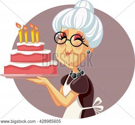 Happy Granny Holding Homemade Birthday Cake Vector Cartoon