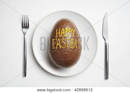 Chocolate Easter Egg On Plate