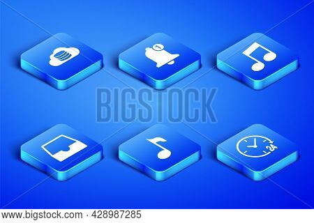 Set Clock 24 Hours, Cloud Database, Music Note, Tone, Social Media Inbox, Bell And Icon. Vector