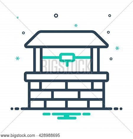 Mix Icon For Well Pit Water Deep Old Village Agricultural Antique Nature Draw-well Drinking Fresh