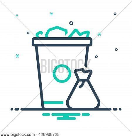 Mix Icon For Garbage Trash-can Trash Can Waste Basket Container Junk Debris Detritus Rubbish