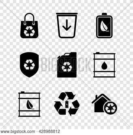 Set Shopping Bag With Recycle, Send To The Trash, Eco Nature Leaf And Battery, Bio Fuel Barrel, Batt