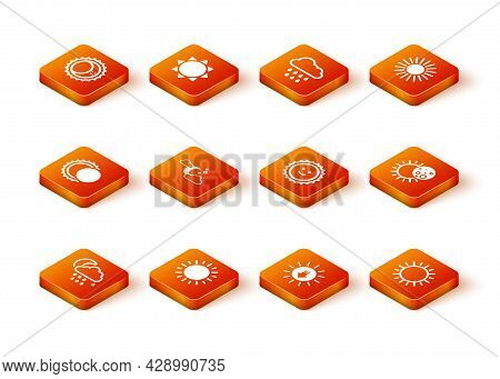 Set Cloud With Rain And Moon, Sun, Eclipse Of The Sun, Stars, Sunset, And Icon. Vector