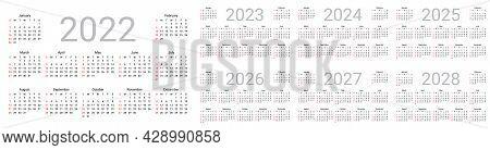 Calendar 2022, 2023, 2024, 2025, 2026, 2027, 2028 Years. Week Starts Sunday. Simple Template Of Pock