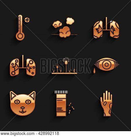 Set Mold, Medicine Bottle And Pills, Hand With Psoriasis Or Eczema, Reddish Eye Allergic Conjunctivi