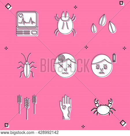 Set Monitor With Cardiogram, Parasite Mite, Sesame Seeds, Cockroach, Man Having Headache, Fatigue, W