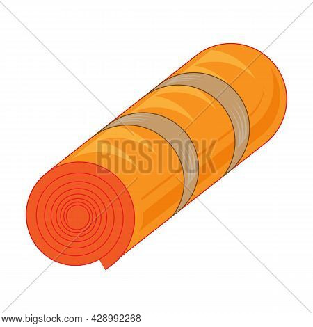 Orange Bed Roll. Rolled Tourist Bedroll. Packed Sleep Bag