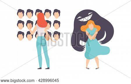 Woman Having Mental Disorder And Psychic Illness Vector Set