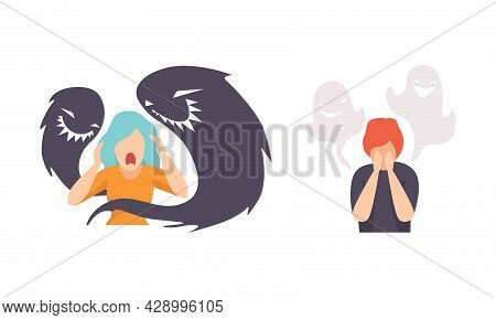 Man And Woman Having Mental Disorder And Psychic Illness Vector Set