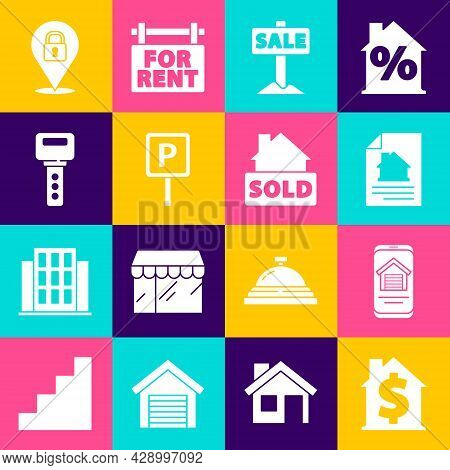 Set House With Dollar Symbol, Online Real Estate House, Contract, Hanging Sign Sale, Parking, Key, L