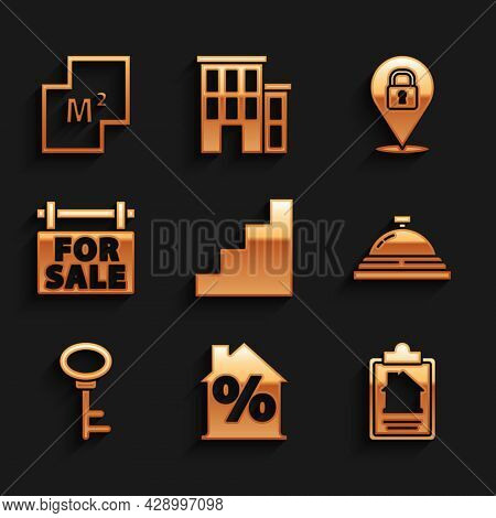 Set Staircase, House With Percant Discount, Contract, Hotel Service Bell, Key, Hanging Sign For Sale