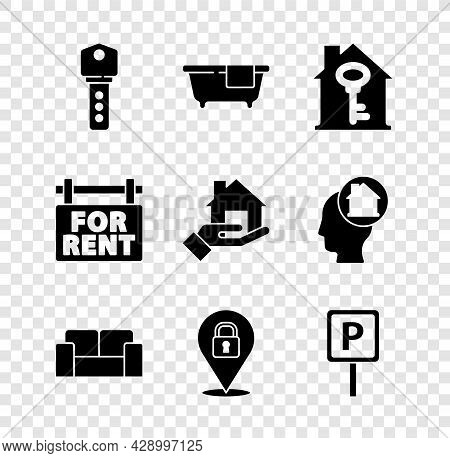 Set House Key, Bathtub, With, Sofa, Location Lock, Parking, Hanging Sign For Rent And Realtor Icon.