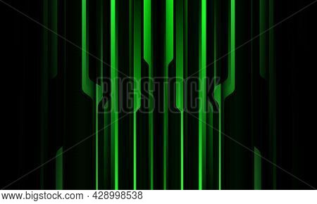 Abstract Green Black Metallic Shadow Black Line Cyber Geometric Pattern With Blank Space Design Mode