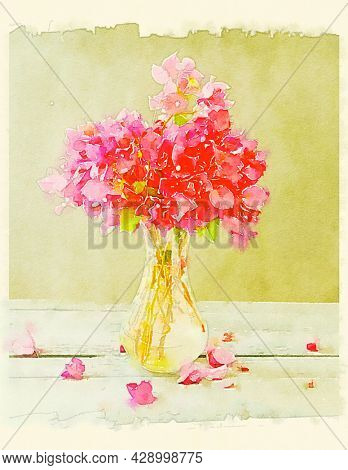 Hand painted water color art illustration. Beautiful classic watercolor still life painting with flower bunch in a vase.