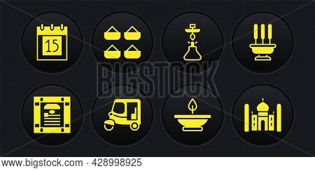 Set India Constitution Day, Incense Sticks, Taxi Tuk Tuk, Aroma Lamp, Hookah, Indian , Taj Mahal And