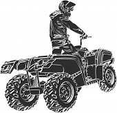 ATV off-road rider in helmet jumping in to the sunset poster