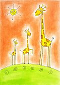 Three happy giraffes child's drawing watercolor painting on paper poster
