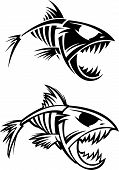 Fish skeleton black and white 2 versions poster