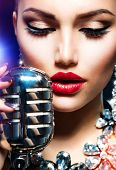 Singing Woman with Retro Microphone. Beauty Glamour Singer Girl. Vintage Style. Song poster