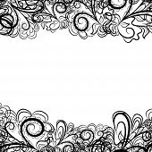 Abstract black border like as lace against the white background. Pattern contains place for your text. poster