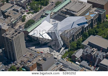 An aerial shot of the new Libeskind-designed Michael Lee-Chin Crystal extension to the Royal Ontario Museum in Toronto Canada. poster