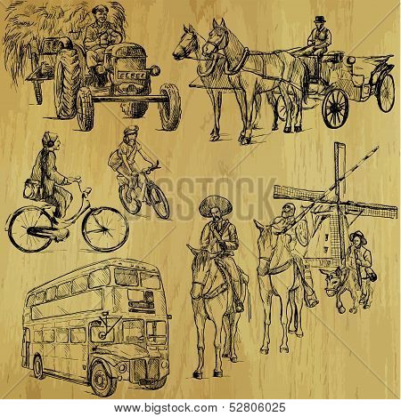 Transportation around the World (part 3). Collection of hand drawn illustrations (originals, no tracing). Description: Each drawing comprise of two layers of outlines, colored background is isolated. poster