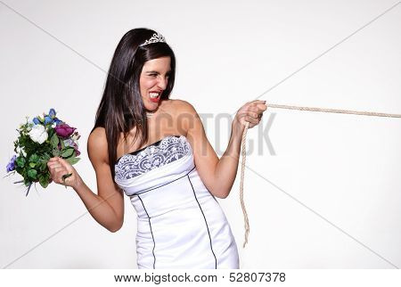 Anger bride pulling a rope,involuntary marriage poster