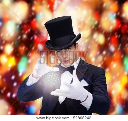 magic, performance, circus, show concept - magician in top hat showing trick poster