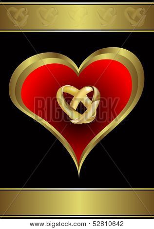 A vector valentines or wedding background  a large central heart and rings on a black background