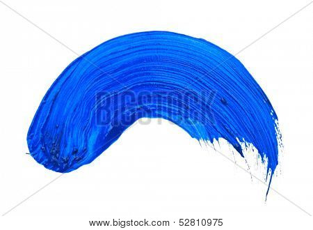 blue stroke of the paint brush isolated on white poster
