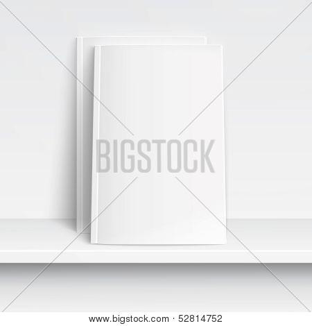Two blank white magazines on white shelf..