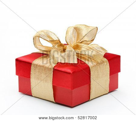 Red gift box with gold ribbon bow, isolated on white background