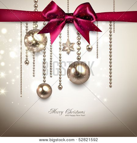 Elegant Christmas background with red bow and golden garland. Vector illustration