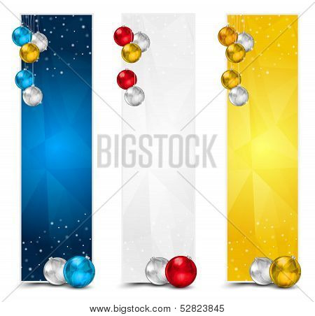 Vertical Polygon Christmas Banners