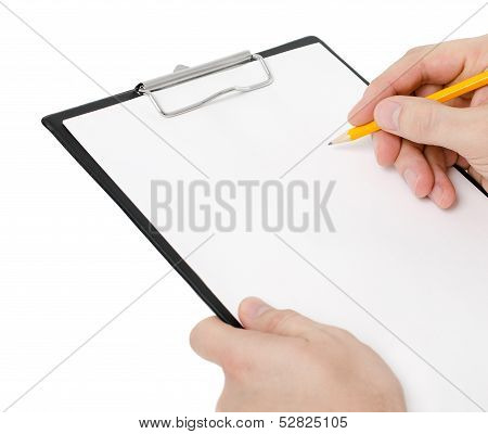Businessman holding a clipboard and write on it isolated on white background poster