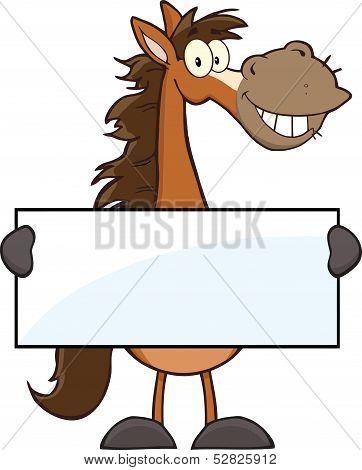 Horse Cartoon Mascot Character Holding A Banner