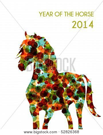 Chinese New Year Of The Horse Shape Bubbles Eps10 File.