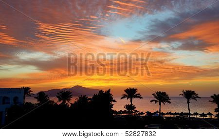 Sunrice And Beach With A View On Tiran Island At The Luxury Hotel, Sharm El Sheikh, Egypt