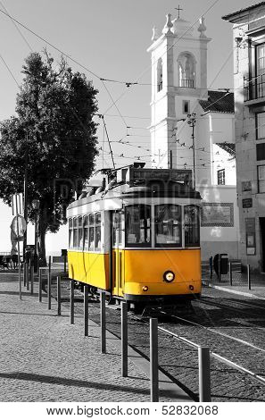 Lisbon old yellow tram over black and white background Portugal poster