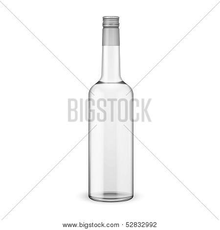 Glass vodka bottle with screw cap.