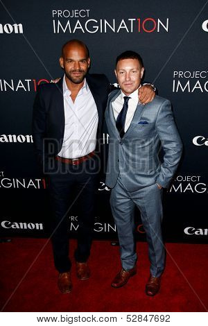NEW YORK- OCT 24: Actor Amaury Noalsco (L) and Lane Garrison attend the global premiere of Canon's