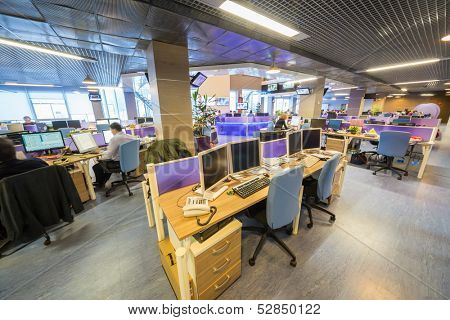 MOSCOW - MAR 5: Employees in large office buildings news agency RIA Novosti on March 5, 2013 in Moscow, Russia.