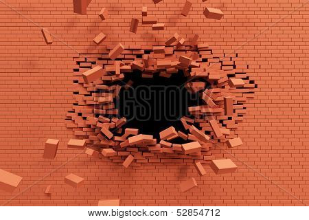 breaking brick wall, high resolution 3d rendering
