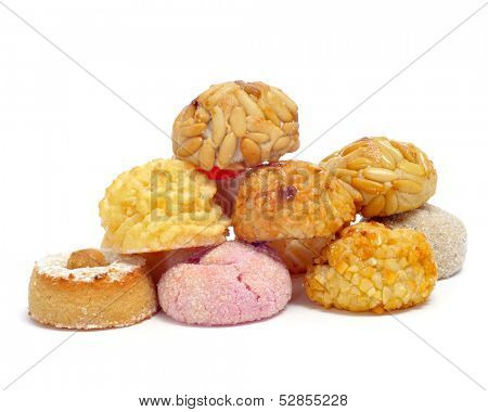 a pile of panellets, typical pastries of Catalonia, Spain, eaten in All Saints Day poster