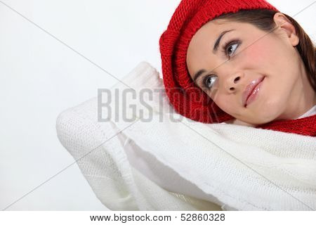 Attractive woman daydreaming