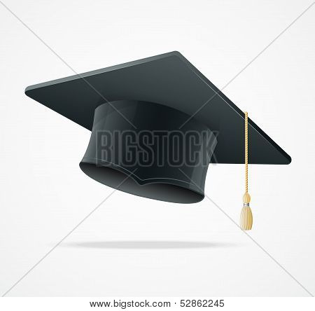 Education Cup on White. Graduation Cap.